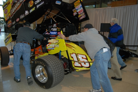 Tony Stewart's dad, Nelson (l) and his Sprint Car