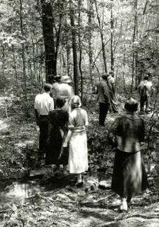 This informal wildflower foray was before Kay's time. The undated photo from the early 1930s shows friends of Mrs. Steele's hiking along the Peckerwood Trail, one of five trails at T.C. Steele State Historic Site.