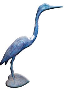 This statue represents either a heron or a crane — people often confuse the two.