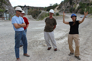 The author conducting geological arm waving at the impact site, now the Rogers Group Kentland Quarry. Photograph courtesy Nelson Shaffer.